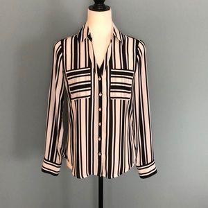 Express B&W Striped Blouse